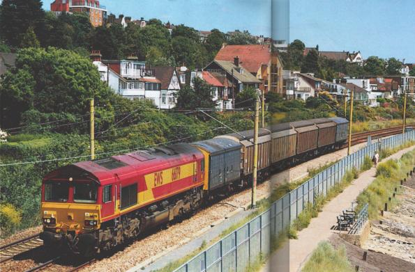 EWS placed the biggest order for Class 66s - with 250 locomotives. They work the length and breadth of the country on all manner of duties and have allowed withdrawal of twice as many older and less reliable locomotives. On June 16, 66179 works a Shoeburyness-Didcot MoD train past Chalkwell on the c2c commuter route. This train used to be worked by Class 47s and more recently Class 37s.