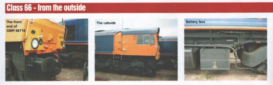 Class 66 - from the outside: Front end of GBRf 66716, Cabside, Battery box