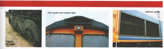Class 66 - from the outside: Bogie in detail, Horn grille and marker light, Radiator grilles