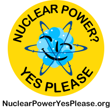 "Nuclear Power? Yes Please - the ""Smiling Atom"" logo"